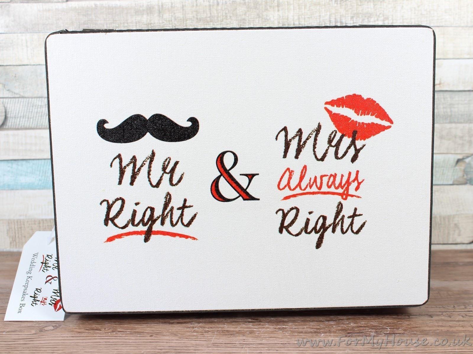 Mr Right Mrs Always Right Wedding Chest Memory Box Keepsake Card Box