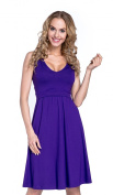 Happy Mama. Women's Maternity Nursing Layered Skater Dress Sleeveless. 685p