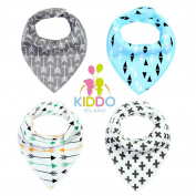 Baby Bandana Drool Bibs By Elleez / Set of 4 Unique Designs For Boys & Girls