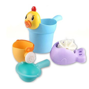 Bath Toys, Safe & Care Baby Bathtime Toys Fun Animals and Shampoo Cup 4pcs Cute Educational Toys for Toddlers Boys & Girls