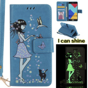 Samsung Galaxy A5 2016 Case, Samsung Galaxy A5 2016 Case [Blue],Samsung Galaxy A5 2016 Luminous Case, Cosy Hut [Night Luminous] [Wallet Case] Magnetic Flip Book Style Cover Case ,Glow in the Dark Creative Design Cat and woman Pattern Design Premium PU ..