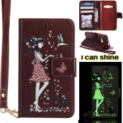 Samsung Galaxy J1 2016 Case, Samsung Galaxy J1 2016 Case [Brown],Samsung Galaxy J1 2016 Luminous Case, Cosy Hut [Night Luminous] [Wallet Case] Magnetic Flip Book Style Cover Case ,Glow in the Dark Creative Design Cat and woman Pattern Design Premium PU ..