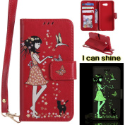 Samsung Galaxy J3 2017 Case, Samsung Galaxy J3 2017 Case [Red],Samsung Galaxy J3 2017 Luminous Case, Cosy Hut [Night Luminous] [Wallet Case] Magnetic Flip Book Style Cover Case ,Glow in the Dark Creative Design Cat and woman Pattern Design Premium PU L ..