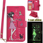 Samsung Galaxy J3 2017 Case, Samsung Galaxy J3 2017 Case [Rose red],Samsung Galaxy J3 2017 Luminous Case, Cosy Hut [Night Luminous] [Wallet Case] Magnetic Flip Book Style Cover Case ,Glow in the Dark Creative Design Cat and woman Pattern Design Premium ..
