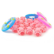 TOYMYTOY Rubber Pink Pig Baby Bath Toys with 4 Mini Swim Rings Fun Kids Bathtime Toys
