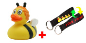 SET - LILALU® RUBBER DUCK + #WORLD Duck Lanyard | Fairytales | Animals | Multicultural | Various colours and designs, LILALU:Bee Susi duck / 1890