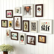HJKY Photo Frame Wall Set Continental wooden wall pictures living room restaurant is decorated in a creative combination of picture frame frame wall minimalist modern frame walls, white chocolate