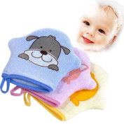 Pueri Baby Bath Sponge Soft Cotton Baby Shower Brush Cute Bath Gloves