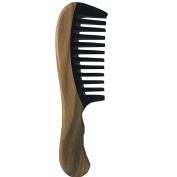 Wood Crafts Green Sandalwood and Black Buffalo Horn Splicing Comb, Help To Relieve Itchy Scalp, Headaches and Hair Loss, Relieve Tension