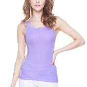 Zhhlaixing Lace Back Cotton Vest Hollow Quality Ladies Bottoming Tops for Women Purple/White/Black