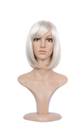 Lady Quality Wig Short Page Bob Fringe Bangs Silvery Grey and Brown