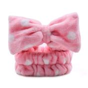 Oshide Girls Women Fashion Lovely Soft Bowknot Makeup Cosmetic Shower Elastic Hair Band Hairlace Headband