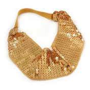 Retro/ Disco Gold Sequin Wide Elastic Headband/ Headwrap