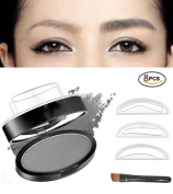 Natural Eyebrow Stamp Powder 3 Brow Shapes Easy Press in Seconds Brow Seal Stamper Cosmetics Palette Waterproof Long-lasting