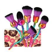 Make Up Brushes, 6Pcs/Set Foundation Cosmetic Brushes Love Forever Long Stem Flower Shape Home Decorations for Living Room Best Gift for Valentine's Day, Mother's Day, Anniversary, Birthday Gift