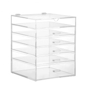 Beautify 6 Tier Clear Acrylic Cosmetic Makeup Cube Organiser With 5 Drawers & Removable Divider