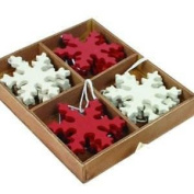 12 Traditional Wooden Red Cream Snowflake Christmas Tree Decorations