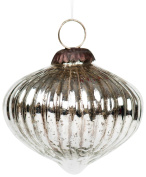 Insideretail Antique Effect Christmas Hanging Bauble Decoration, Glass, Silver,