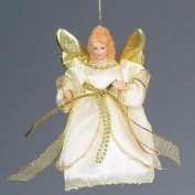 Christmas 15cm Tree Top / Hanging Angel Decoration - Ivory / Gold
