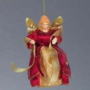 Christmas 15cm Tree Top / Hanging Angel Decoration - Red / Gold