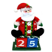 Novelty Advent Christmas Calender Wooden Block Santa Theme Christmas Decorations
