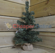 45cm Tall Indoor Foldable Mini Green Christmas Tree In A Jute Base