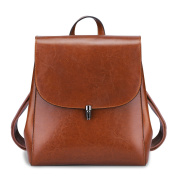 S-ZONE Women s Oil Wax Leather Genuine Leather Shoulder Bag Brown