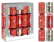 25cm X 30cm Red Modern Foil Traditional Christmas Crackers With Gifts Festive Party