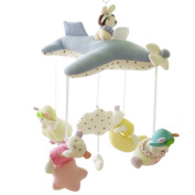 SHILOH Baby Crib Musical Mobile 60 Tunes Plush Pilot, Light Blue