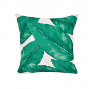 ALCYONEUS Green Leaf Print Pillow Case Waist Rest Throw Cushion Cover