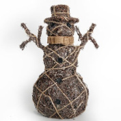 Light Up Snowman Rattan And Twine Detailing Rustic Christmas Decoration