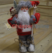 30cm Standing Acrylic Santa With Festive Jumper And Wooden Skis