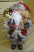 30cm Standing Acrylic Festive Santa With Teddy Bear And Jingle Bell Hat
