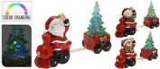 Colour Changing Led Santa / Snowman / Reindeer Train Christmas Tree On Cart