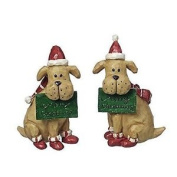 Sitting Dog Christmas Ornaments With Festive Hat & Scarf
