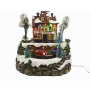Led Christmas Animated Train Station With Snow And Musical Lights Decoration