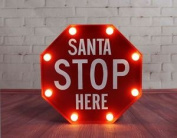 Red Stop Santa Christmas Light & Sign With 8 White Led Bulbs