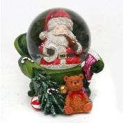 Charming Poly Snow Globe, Diameter 4.5 Cm Santa In Armchair Green