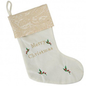 Werchristmas Christmas Stocking With Merry Christmas Embroidery, 48 Cm - Cream G