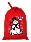 Christmas Snowman Red Santa Sack 46x60cm