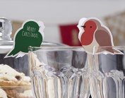 Ginger Ray Christmas Robin Wine Or Champagne Glass Decorations And Christmas -