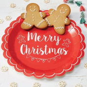 Ginger Ray Red And White Merry Christmas Vintage Party Paper Plates X 8 - Noel