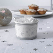 8 X White & Silver Snowflakes Paper Party Treat Tubs Ice Cream Sweets Party Tubs