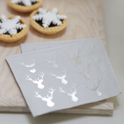 Ginger Ray Mini Silver Foiled Christmas Metallic Stag Party Paper Napkins X 20 -