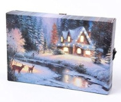 Small Festive Christmas Light Up Led Canvas/picture Cottage/winter Scene 15m X
