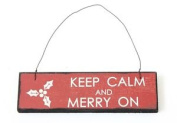 Keep Calm And Merry On Christmas Sign 18cm X 5.1cm Hanging Plaque Decoration