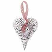 Heaven Sends Hanging Willow Wooden Heart Gingham Christmas Valentines Decoration