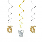 66cm Hanging Gold And Silver Happy New Year Decorations, Pack Of 3