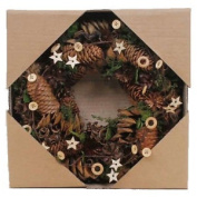 30cm Artificial Christmas Wreath 'acorn & Star' Hand Crafted Festive Decoration