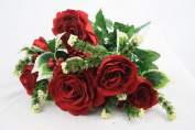 Red Artificial Silk Christmas Rose & Holly Bush